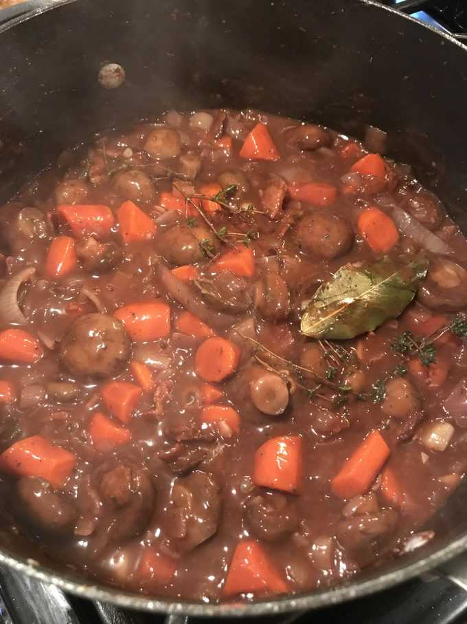 coq au vin vegtables with wine just added | savorwithjennifer.com