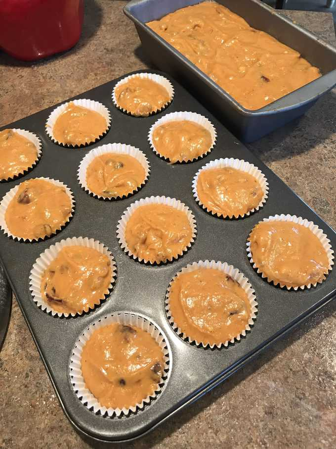 pumpkin batter in muffin tins and loaf pan   savorwithjennifer.com