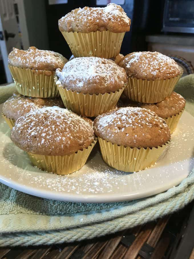 tower of fresh baked pumpkin muffins   savorwithjennifer.com