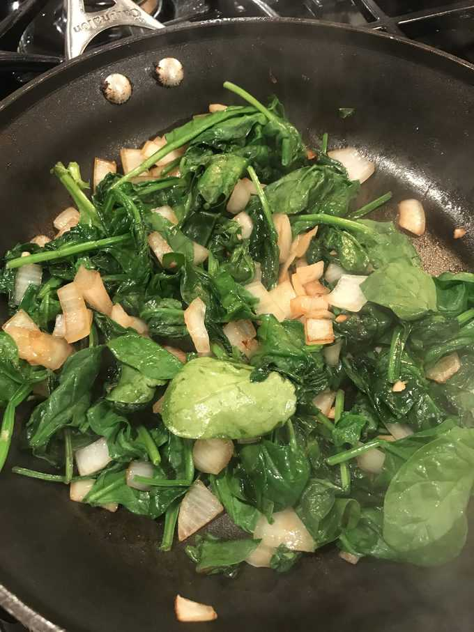 sauted onion, garlic, and spinach | savorwithjennifer.com