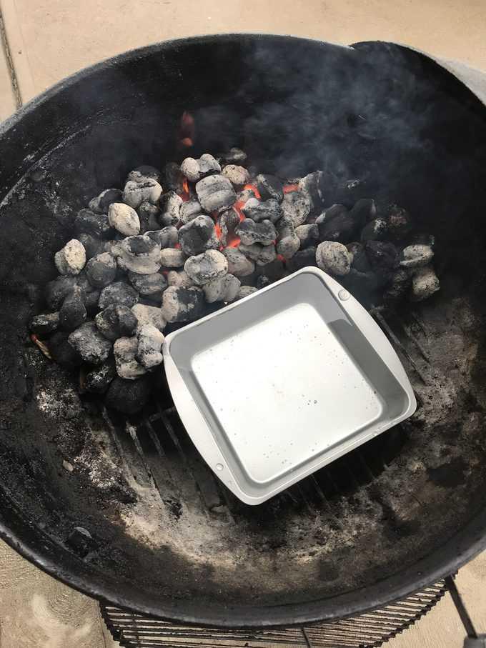 hot coals and water pan | savorwithjennifer.com