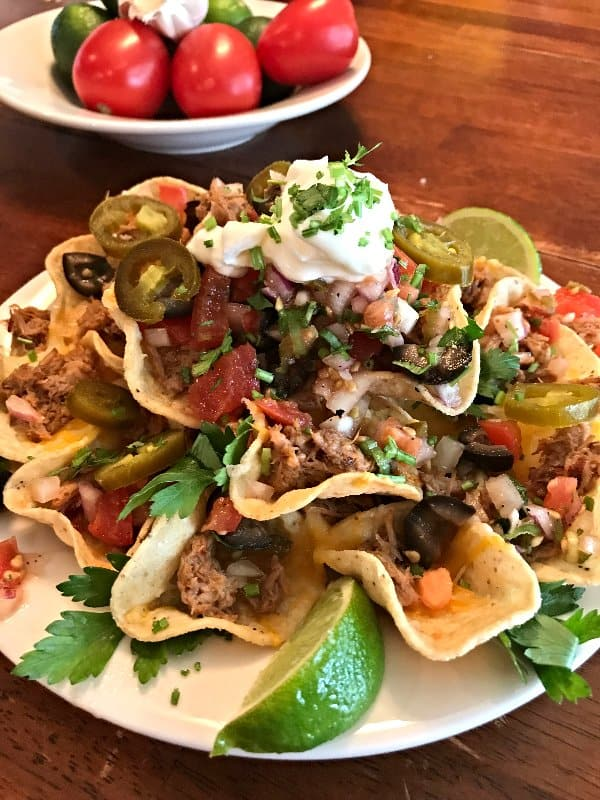 Seriously Amazing Pork Carnitas and Party Pico Nachos | SavorwithJennifer.com