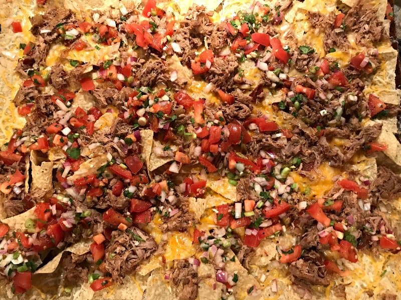 Seriously Amazing Pork and Party Pico Nachos | SavorwithJennifer.com