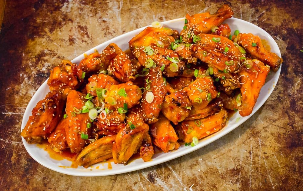 Sticky Honey Sriracha Wings | Savorwithjennifer.com
