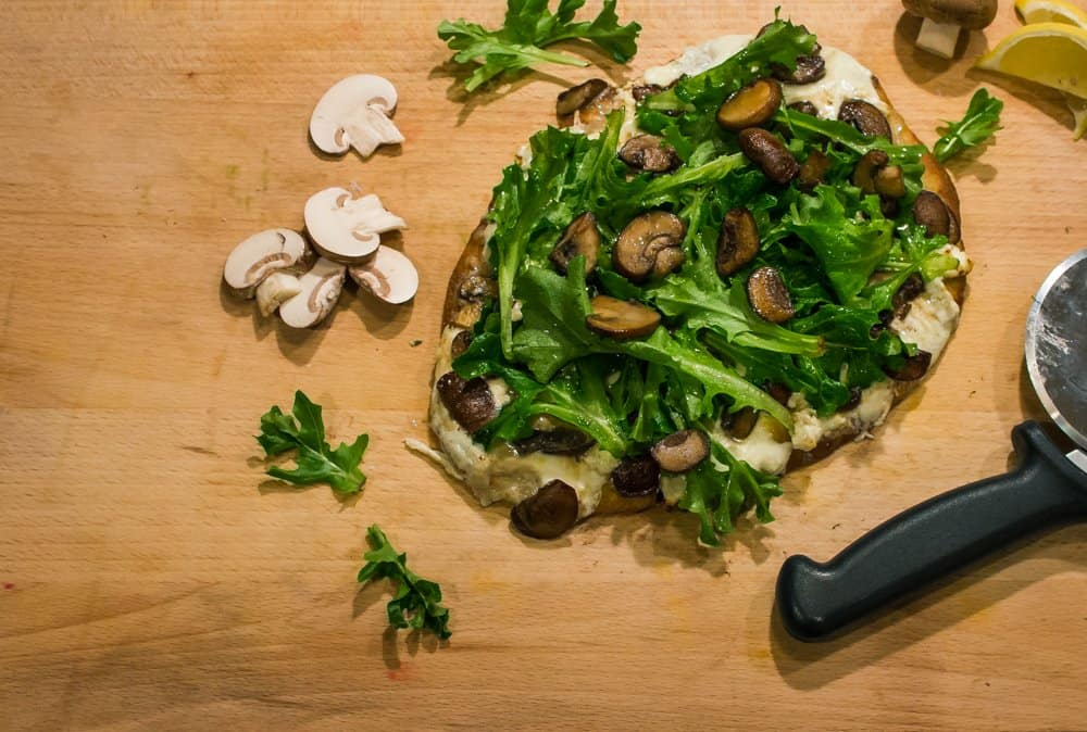 Truffled Goat Cheese & Arugula Pizza with Caramelized Mushrooms | SavorwithJennifer.com