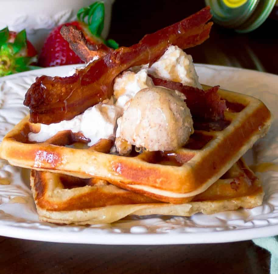 Buttermilk Bacon Waffles with Honey Cinnamon Butter | Savorwithjennifer.com