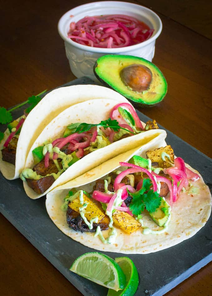 Pork Belly Tacos with Pickled Onion, Roasted Pineapple, and Avocado Lime Sour Cream | Savorwithjennifer.com