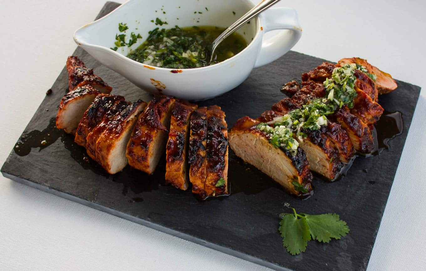 Grilled Sweet Chipotle Pork Tenderloin with Cilantro Lime Chimichurri | savorwithjennifer.com