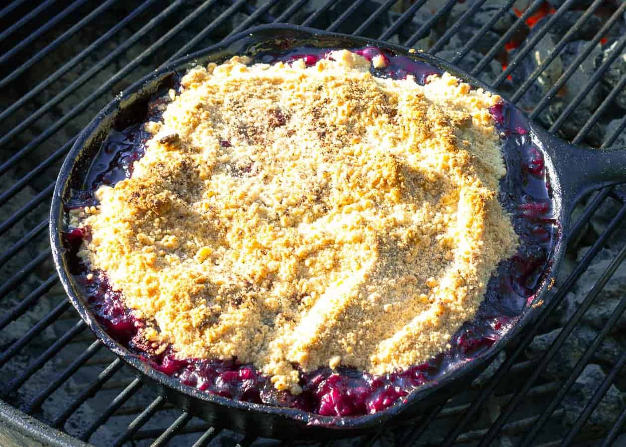 Grilled Triple Berry Crisp in a Cast Iron Skillet | Savorwithjennifer.com