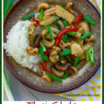 pinterst pin of thai style cashew chicken