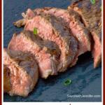 grilled beef teriyaki steak sliced pin