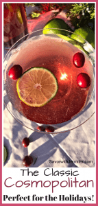 The Classic Cosmopolitan Pin showing martini glass from above with a lime and cranberries
