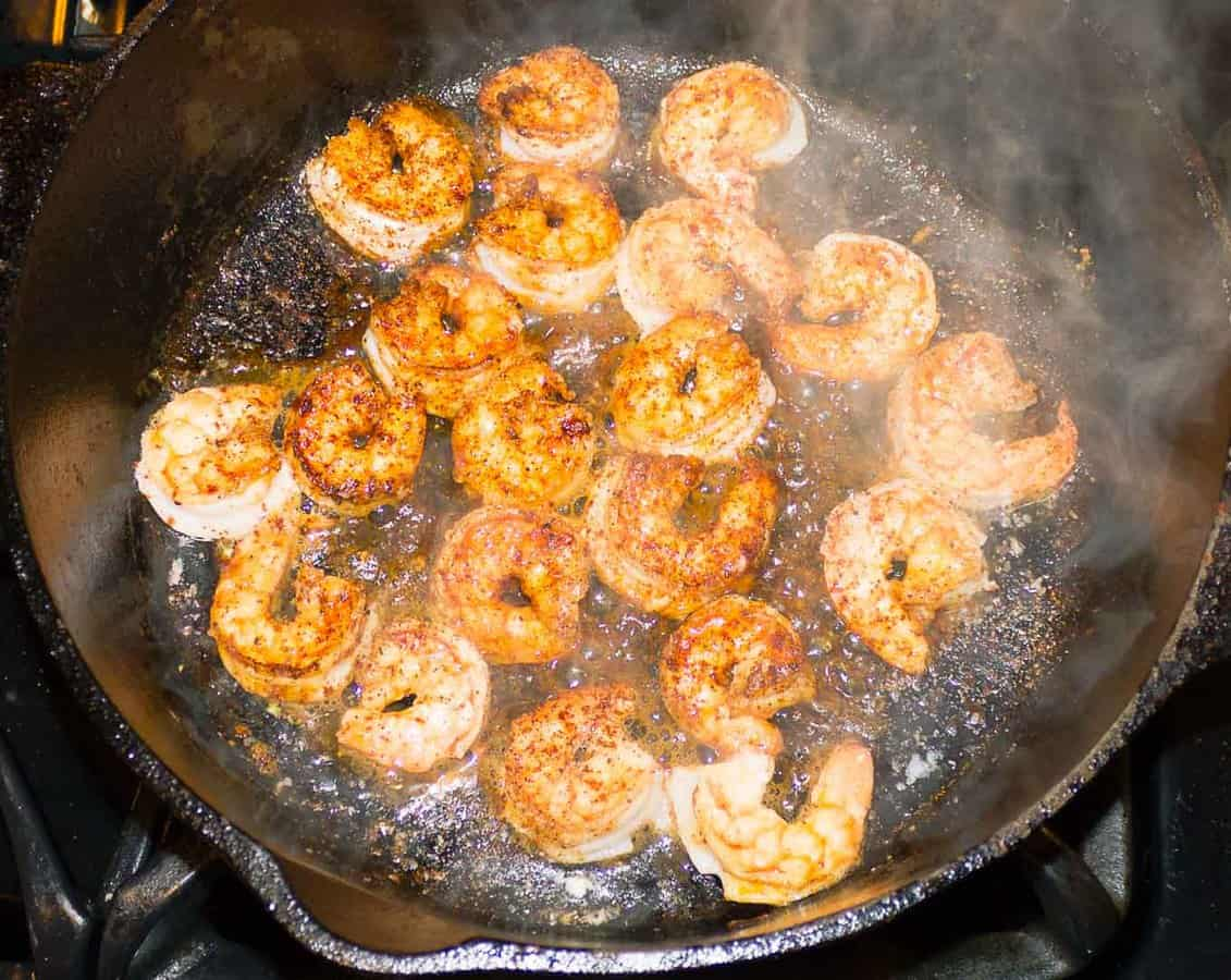 seasoned shrimp sauteed in skillet