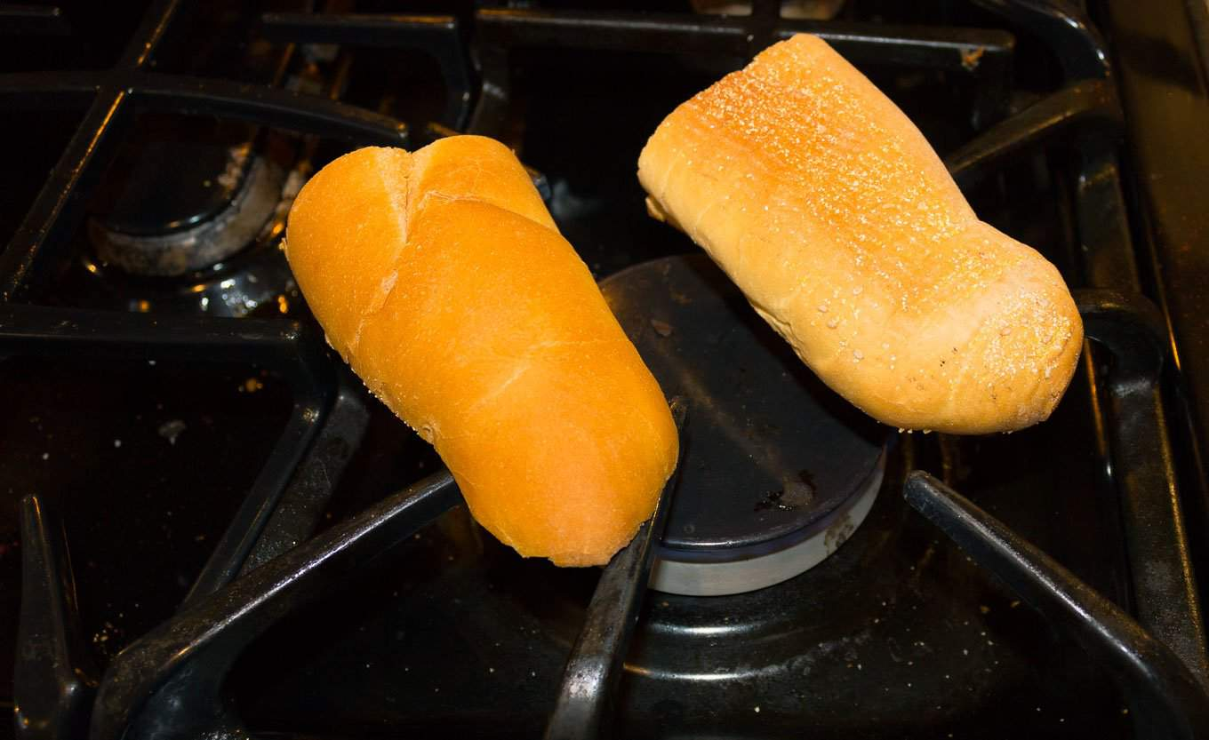 french bread toasted on gas burner