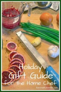 Holiday Gift Guide for the Home Chef picture with kitchen tools and chopped fruits and vegetables