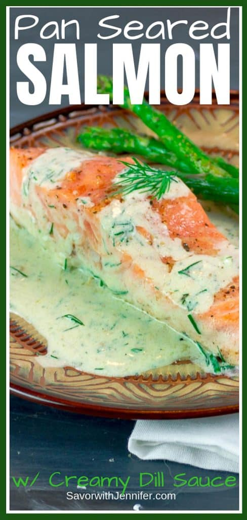 Easy Pan Seared Salmon with Creamy Dill Sauce pinterest pin
