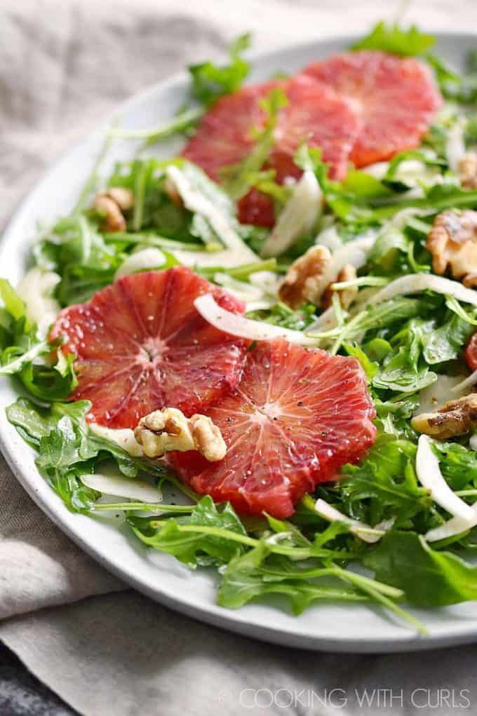 arugula salad with fennel and blood oranges
