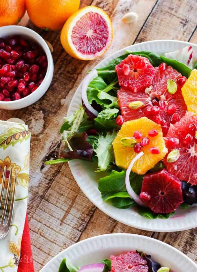 winter sweet citrus salad with pomegranite and pistachios