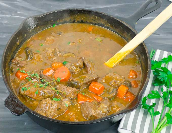 Beef and Guinness Stew in a cast iron dutch oven