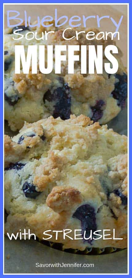Blueberry Sour Cream Muffins with Streusel Pinterest Pin