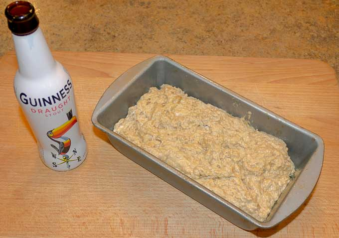 Guinness Beer Bread in loaf pan before cooking