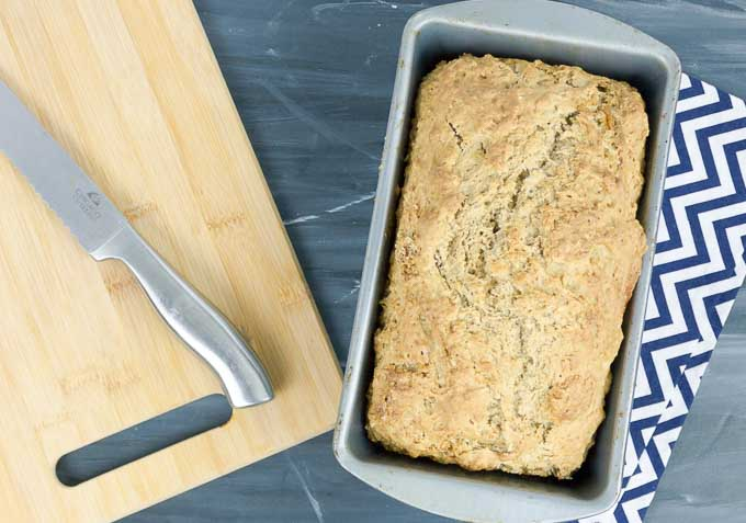 Guinness Beer Bread sliced and a cutting board