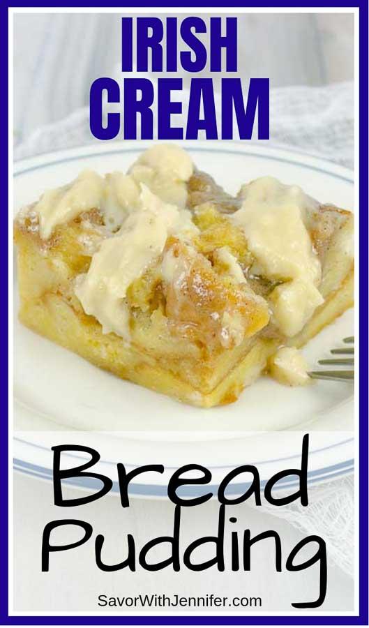 Irish Cream Custard Bread Pudding Pinterest Pin Image