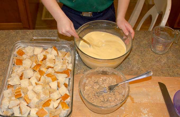 prepping ingrediants for Irish Cream Custard Bread Pudding