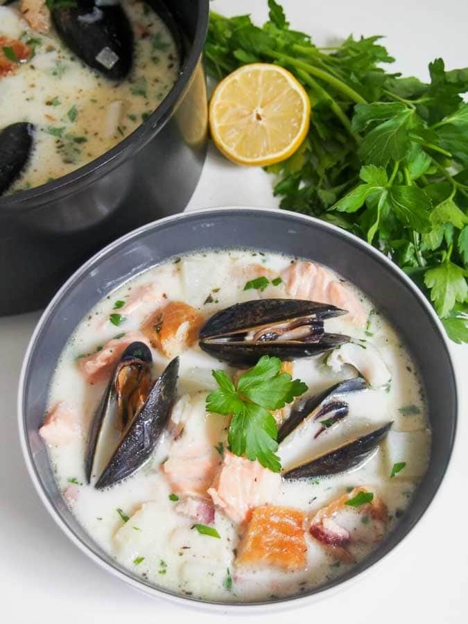 Irish Fish Chowder in bowl with parsley garnish