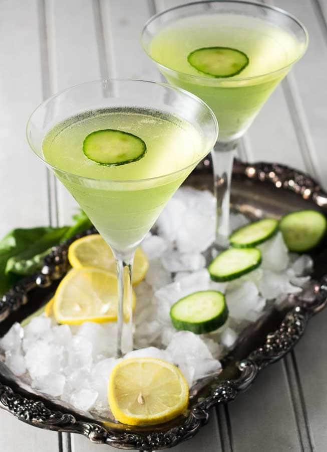 Lemon Cucumber Martini on tray