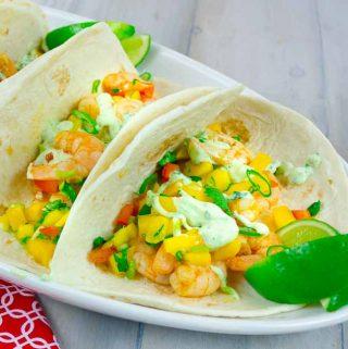 2 Spicy Shrimp Tacos with Mango Salsa