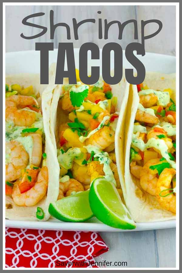 Spicy Shrimp Taco with Mango Salsa Pinterest Pin
