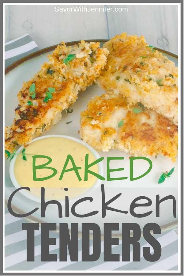 Baked Buttermilk Chicken Strips Pinterest Pin Image