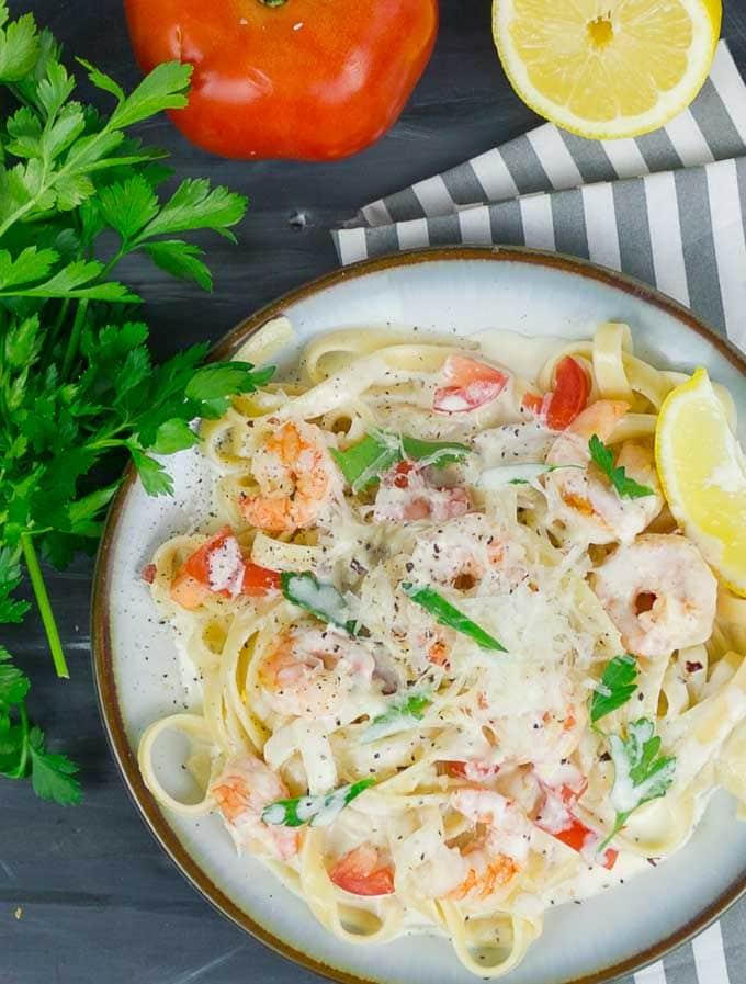 Fettuccine Pasta Alfredo with Shrimp