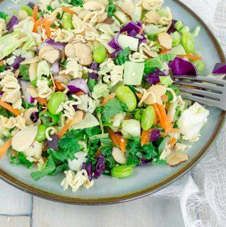 Asian Ramen Chop Salad on white plate