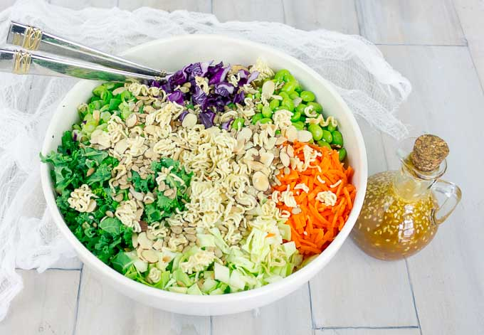 Asian Ramen Chop Salad with Sesame Ginger Dressing in a large white bowl