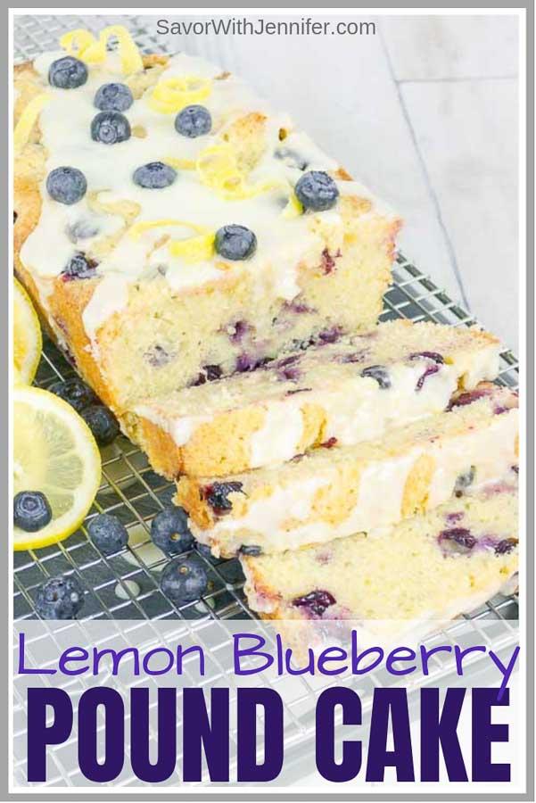 Blueberry Lemon Sour Cream Pound Cake Pinterest Pin Image