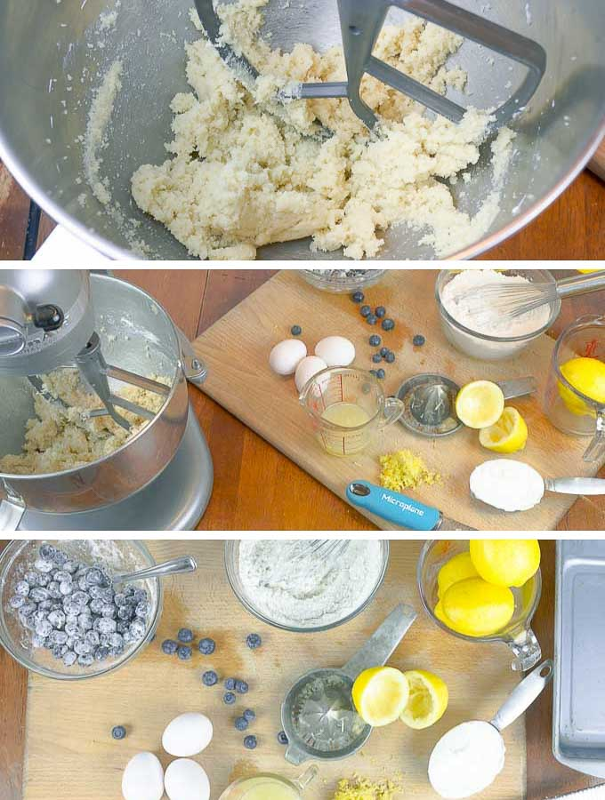 preparation shots of Blueberry Lemon Sour Cream Pound Cake. sugar and butter creamed and lemons juiced.