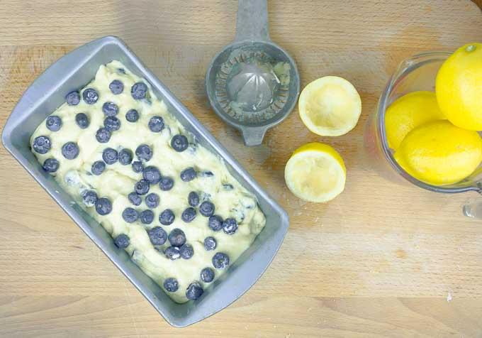 Blueberry Lemon Sour Cream Pound Cake ready to go into the oven