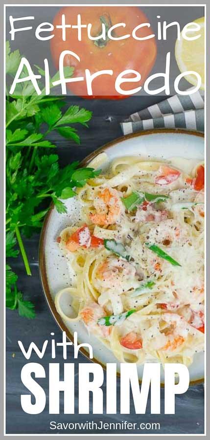 Fettuccine Pasta Alfredo with Shrimp Pinterest Pin Image