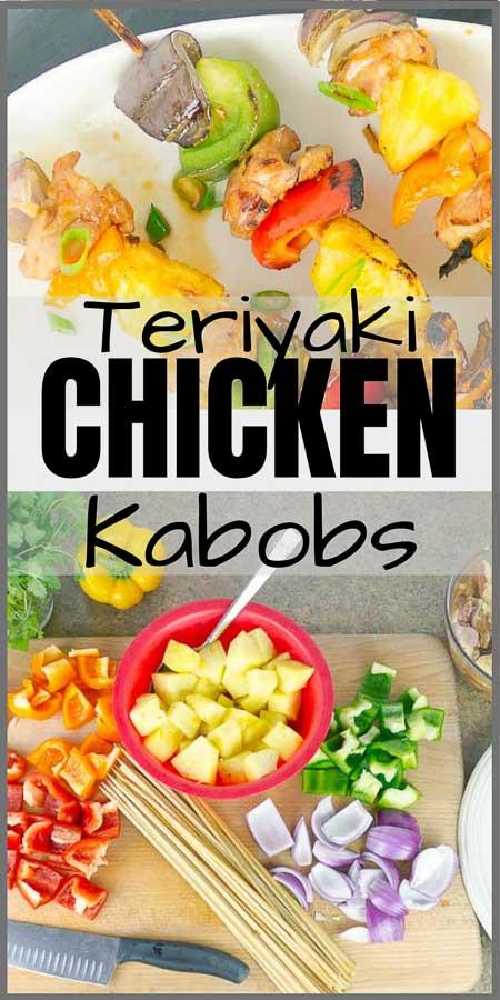 Grilled Pineapple Teriyaki Chicken Kabobs Pinterest Pin Image