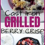 Triple Berry Crisp in a Cast Iron Skillet Pinterest Image