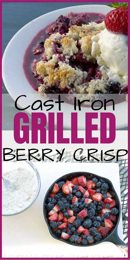 Triple Berry Crisp in a Cast Iron Skillet Pinterest Image