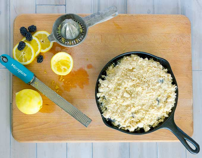 Cast Iron Skillet Blackberry Crumble ready to be baked