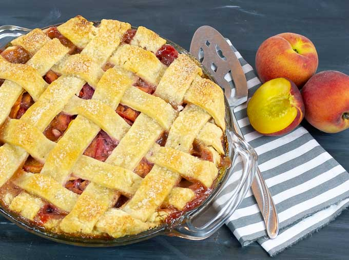 peach pie with lattice top crust