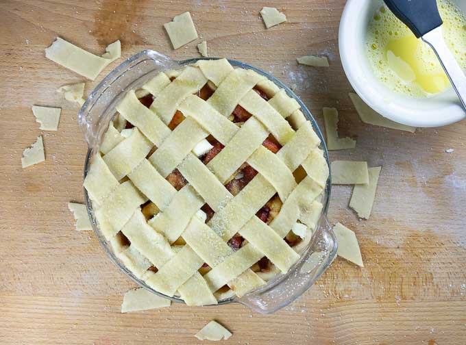 uncooked Fresh Peach Pie With Homemade Crust with lattice top crust
