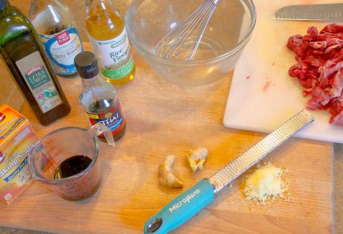 marinade ingrediants for Sesame Beef Stir Fry