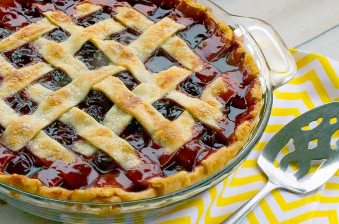 The Best Cherry Pie With Homemade Filling with yeloow napkin