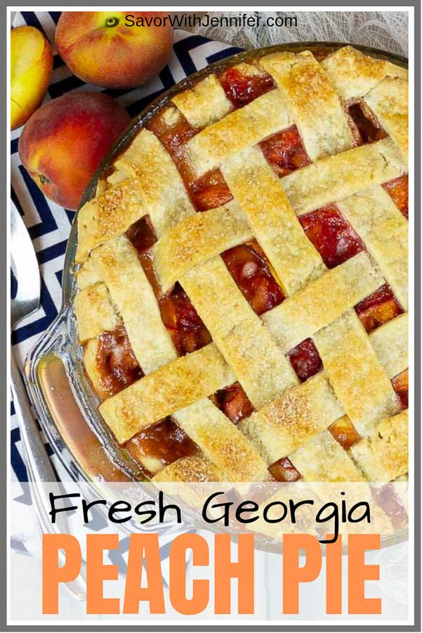 Fresh Peach Pie with Homemade Crust Pinterest Image
