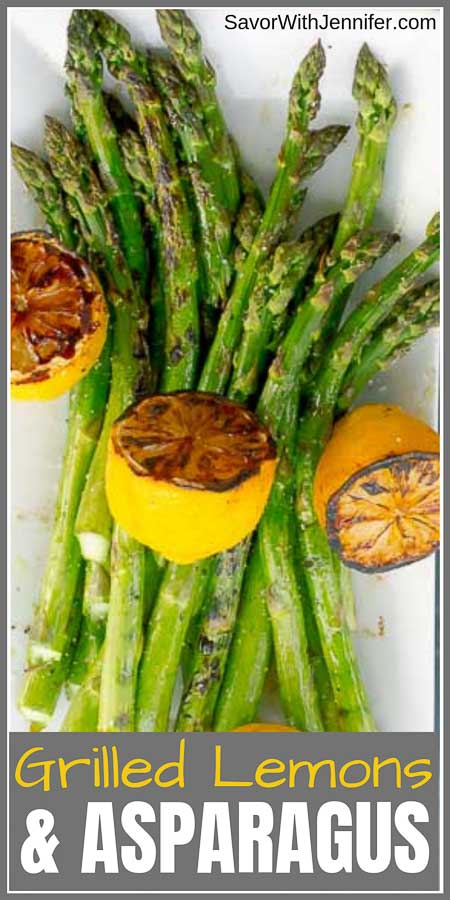 Grilled Asparagus with Grilled Lemon pinterest pin image